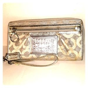 Rare Coach Poppy Lurex Large Zip Around Wallet